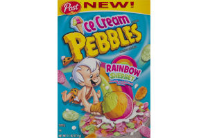 Post Ice Cream Pebbles Sweetened Rice Cereal Rainbow Sherbet