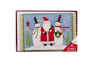 American Greetings Holiday Cards Santa & Snowmen - 16 CT