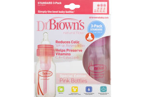 Dr Brown's Natural Flow Reduces Colic Bottles Pink - 3 PK