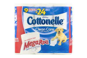 Kleenex Cottonelle Clean Care with Soft Ripples Toilet Paper Mega Roll - 9 CT