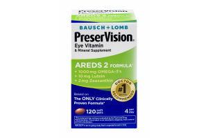 Bausch + Lomb PreserVision Eye Vitamin & Mineral Supplement AREDS 2 Formula Soft Gels - 120 CT