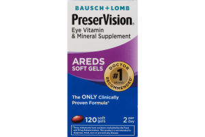 Bausch + Lomb PreserVision Eye Vitamin & Mineral Supplement Areds Soft Gels - 120 CT