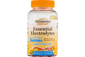 Sundown Naturals Essential Electrolytes Tropical Punch, Watermelon And Fruit Punch Gummies - 60 CT