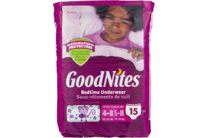 GoodNites Bedtime Underwear 4-8/S-M Fashion Designs - 15 CT