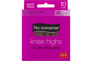 No nonsense Nylon Knee Highs Value Pack Tan, Sheer Toe - 10 PR