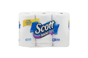 Scott 1000 Sheets Per Roll Unscented Bathroom Tissue - 6 CT