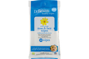 Dr. Brown's Healthy Wipes Naturally Cleaning Nose & Face Wipes - 30 CT