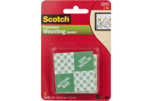 Scotch Permanent Mounting Squares - 24 CT