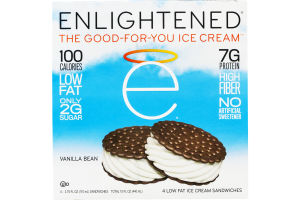 Enlightened Ice Cream Sandwiches Vanilla Bean - 4 CT