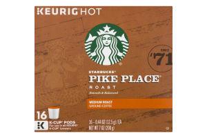 Starbucks Medium Roast Ground Coffee K-Cup Pods Pike Place - 16 CT