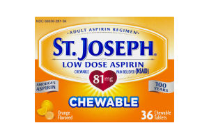 St. Joseph Low Dose Aspirin 81 mg Chewable - 36 CT