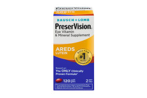 Bausch + Lomb PreserVision Eye Vitaming & Mineral Supplement AREDS Lutein Soft Gels - 120 CT