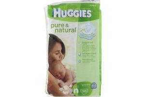 Huggies Pure & Natural Jumbo Diapers Newborn - 30 CT