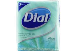 Dial Moisture Balance Antibacterial Deodorant Bar Soap Aloe - 3 CT
