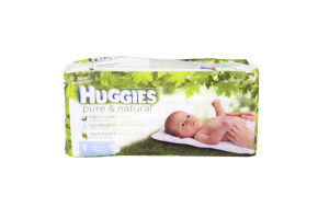 Huggies Pure & Natural Diapers Jumbo Pack Size 1, 33 Count