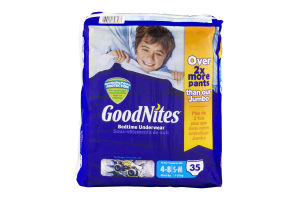 GoodNites Bedtime Underwear 4-8/S-M Cool Designs - 35 CT