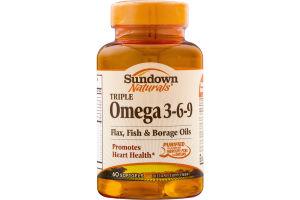 Sundown Naturals Triple Omega 3-6-9 Softgels - 60 CT