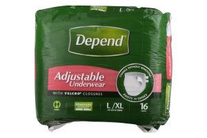 Depend Maximum Absorbency L/XL Adjustable Underwear - 16 CT