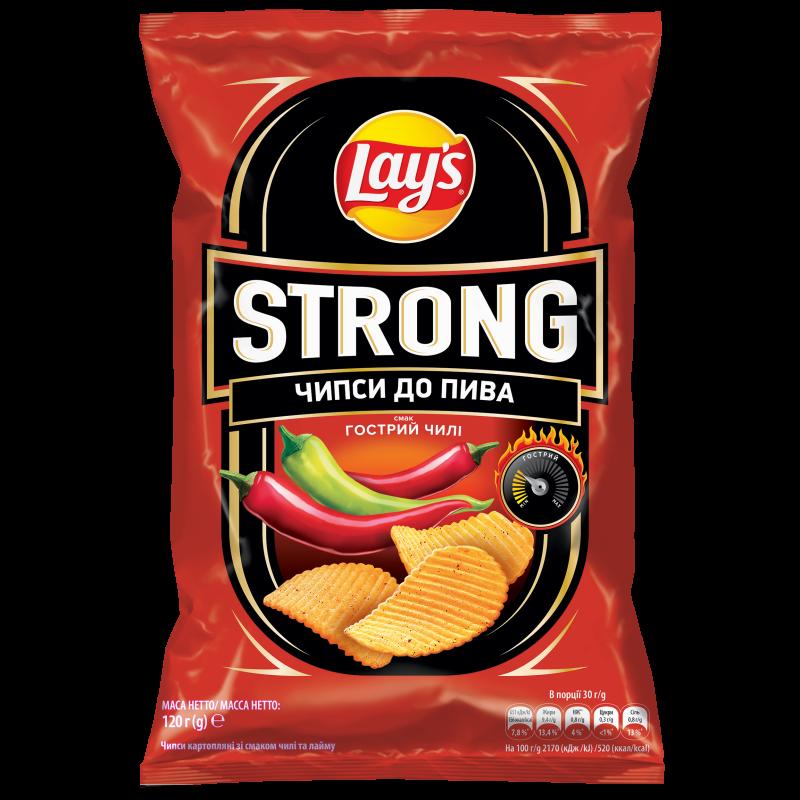 Чіпси Lay's Strong зі смаком гострий чилі 120г