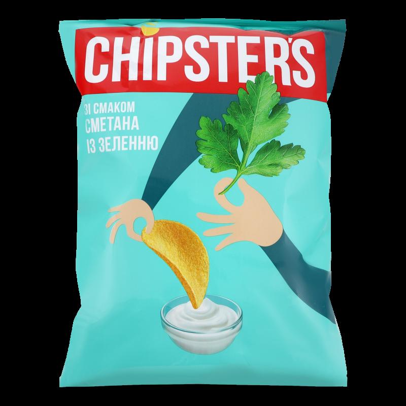 Чіпси Flint Chipster's натур зі смак сметан/зелені 130г