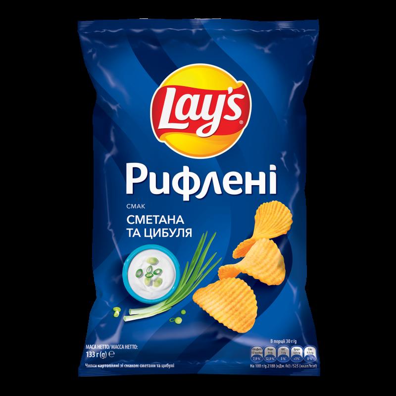 Чіпси Lay's рифлені зі смаком сметани та цибулі 133г