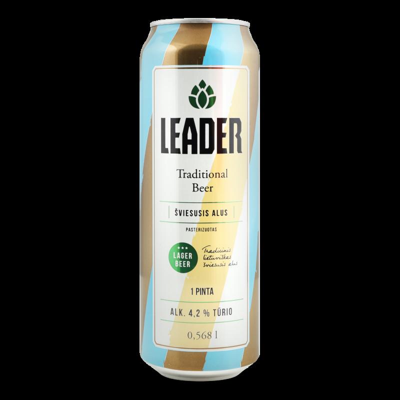 Пиво Leader світле з/б 0.568л