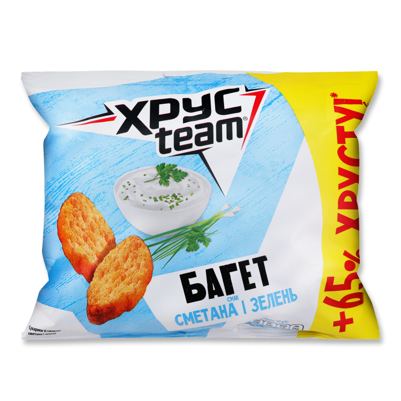 Сухарики ХРУСteam Багет зі смаком сметани та зелен 100г